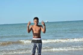 Zamir enjoying the warm water