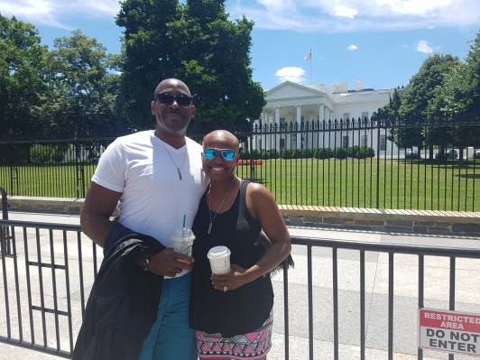 Me and hubby in front of the White House-home of the U.S.A. President