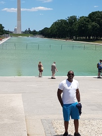 Hubby at the Lincoln Memorial Reflecting Pool